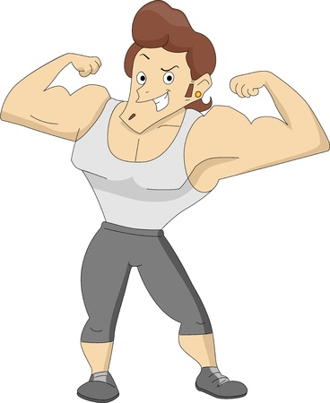 Illustration of a Man showing off his big muscles