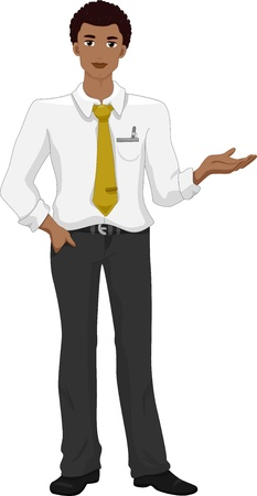 man presenting: Illustration of a Black Man in white Presenting Something