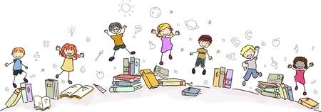 niños estudiando: Ilustración de los niños con los libros