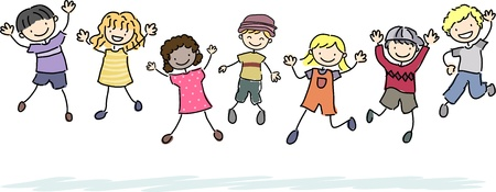 Illustration of Jumping Stickman Kids illustration