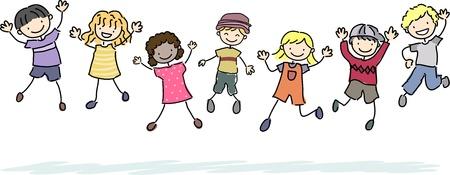stick people: Illustration of Jumping Stickman Kids