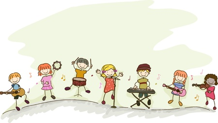 electronic music: Illustration of Multi-racial Kids playing different musical instruments