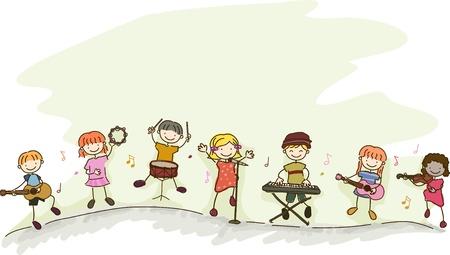 pandero: Ilustración de la diversidad etnica Niños jugando diferentes instrumentos musicales
