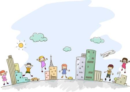 bonhomme allumette: Illustration de Kids Stickman dans une sc�ne urbaine