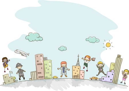 Illustration of Stickman Kids dressed as Adults with different professions illustration