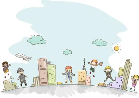 arquitecto caricatura: Ilustraci�n de los ni�os Stickman vestido como adultos con diferentes profesiones