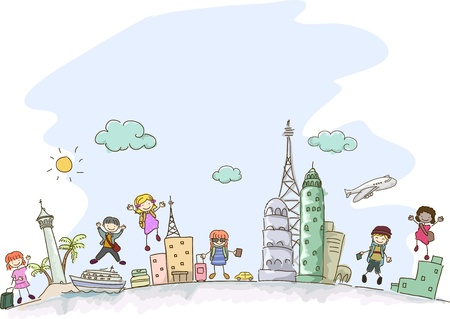 airplane cartoon: Illustration of Stickman Kids travelling with some scenes from different parts of the world