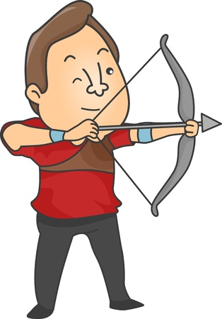 excercise: Illustration of Male Archer aiming a bow and arrow Stock Photo