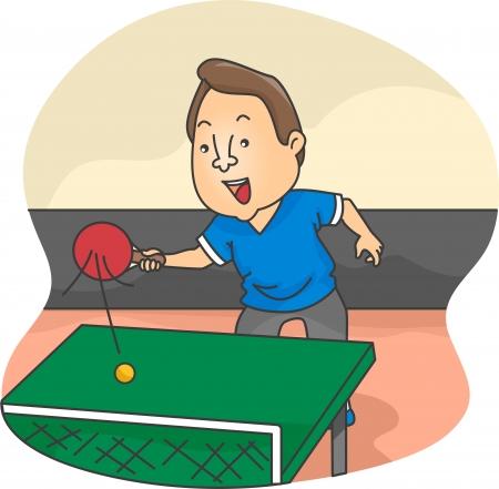 pingpong: Ilustración del jugador masculino Tenis de Mesa en acción