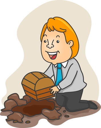 tradesperson: Illustration of a Businessman kneeling to bury a Treasure Chest in a pit Stock Photo