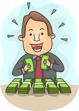 lots: Illustration of a Happy Businessman with Bundles of Money