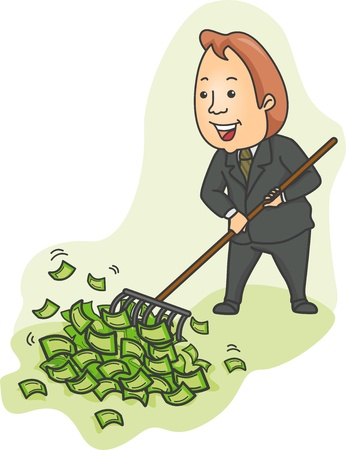lots: Illustration of a Businessman Raking Heaps of Money