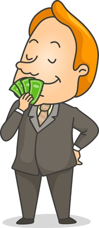 tradesperson: Illustration of a Businessman Smelling Money Stock Photo