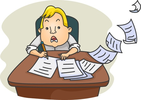 tradesperson: Illustration of a Cramming Businessman Writing and Working Fast Stock Photo