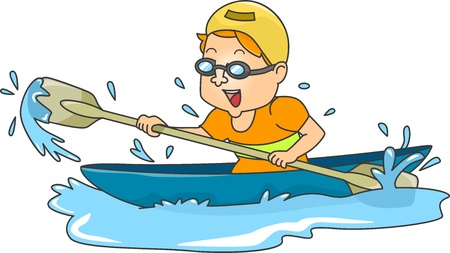 canoe: Illustration of a Man Paddiling in a Canoe