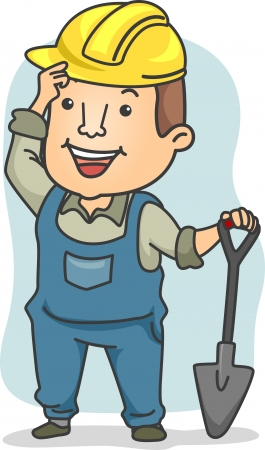 Illustration of a Male Construction Worker holding a Shovel illustration