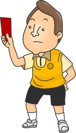 expel: Illustration of an Upset Male Football Referee holding a Red Card