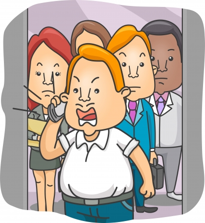 Illustration of a Man in an Elevator talking Loud on cellphone illustration