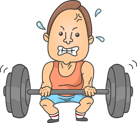 lifting weights: Illustration of a Man lifting up a heavy barbell for weightlifling
