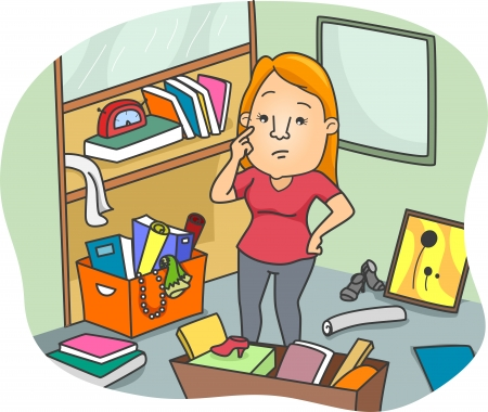 clean room: Illustration of a Woman thinking some ways to Declutter an Office Space