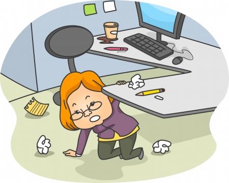 oficina desordenada: Ilustración de una mujer arrodillada hacia abajo y ordenar su armario desordenado