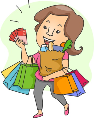 patronage: Illustration of a Woman with Lots of Shopping Bags and Shopping Coupons Stock Photo