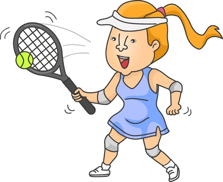 Illustration of a Woman playing Tennis Stock Illustration - 19016054