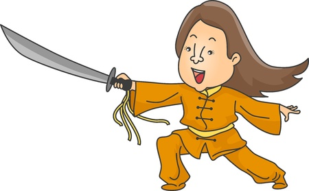 Illustration of Woman Performing Wushu Stock Illustration - 19016019