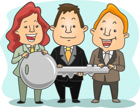 key to success: Illustration of two Businessman and a businesswoman Holding a Big Key