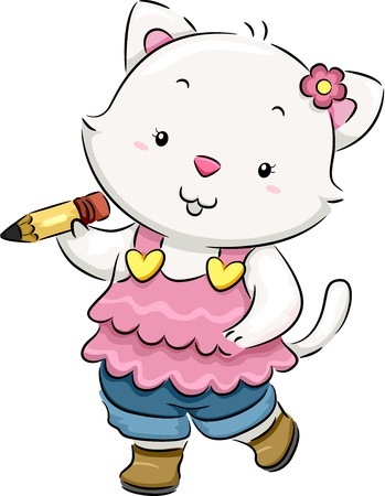 cat clipart: Illustration of a Cat holding a Pencil