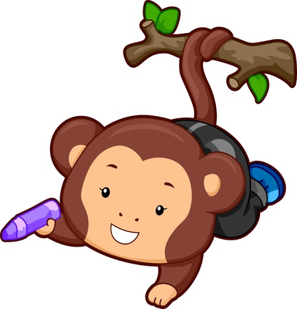 coiled: Illustration of a Monkey with its tail coiled on a branch holding a crayon