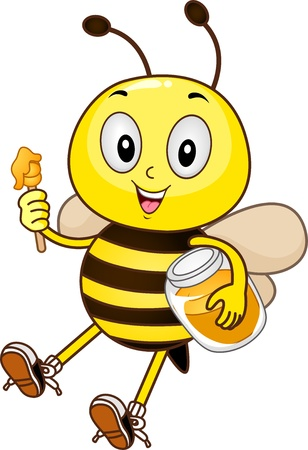 honeybee: Mascot Illustration of a Bee holding a honey dipper and a jar of honey