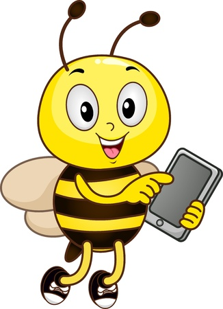 Mascot Illustration of a Bee Holding a Tablet Computer illustration