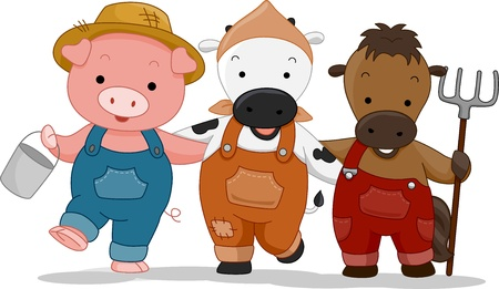 Illustration of Farm Animals dressed as farmers illustration