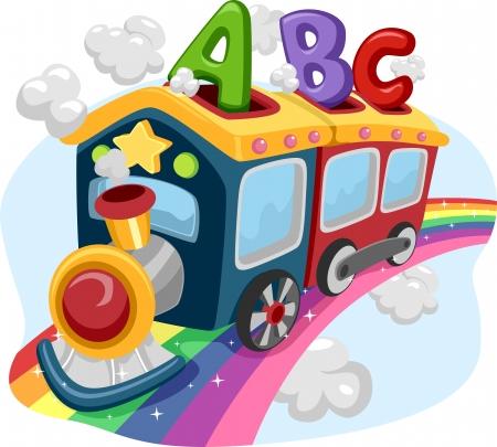 arcoiris caricatura: Ilustración de un tren en un arco iris lleno de ABC Foto de archivo