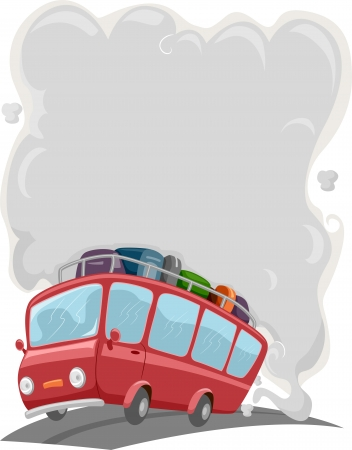 Background Illustration of Travelling Bus with Gray Smoke from Muffler illustration