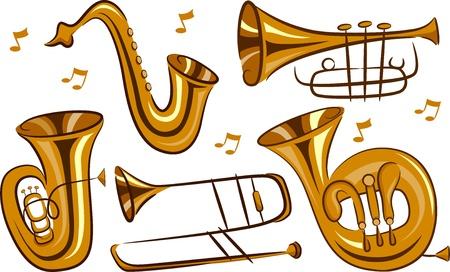 trombón: Ilustraci�n de los instrumentos musicales de viento en el fondo blanco Foto de archivo