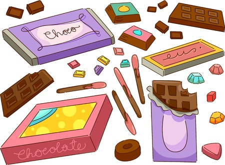 chocolate box: Illustration of Chocolates Design Elements Stock Photo