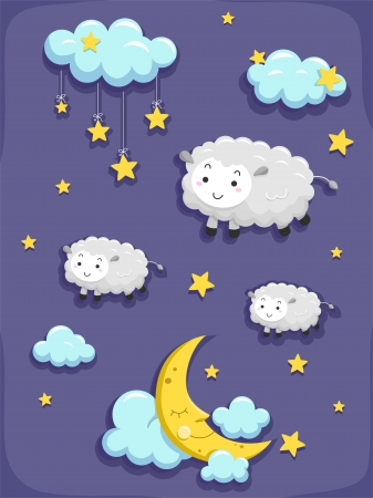 Illustration of Dreams and Sleep Design Elements illustration