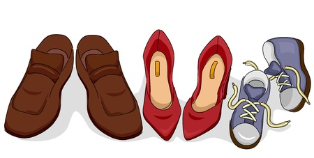 baby shoes: Illustration of Family Shoes