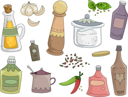 condiments: Illustration of Spices and Condiments Design Elements Stock Photo