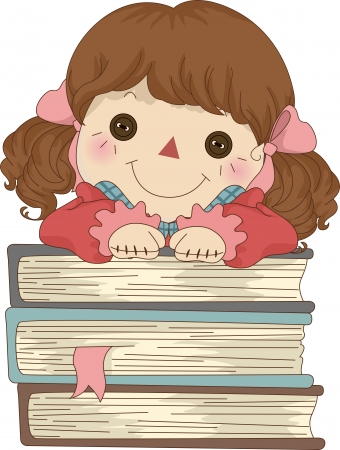 Illustration of Rag Doll with hands on a pile of Books illustration
