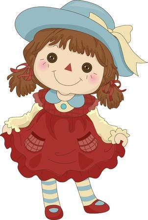 poup�e: Illustration d'un jouet Rag Doll debout sur ses pieds