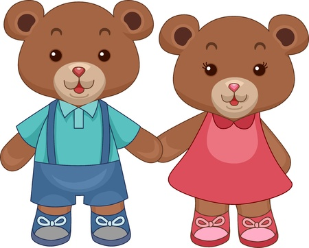 Illustration of Toy Teddy Bears Holding hands illustration