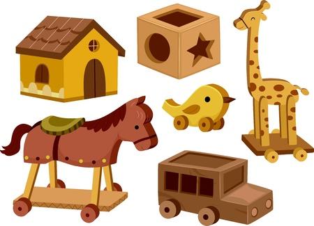 pull toy: Ilustración de los diferentes juguetes de madera en el fondo blanco Foto de archivo