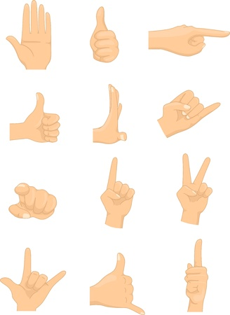 point i: Illustration of different hand signs