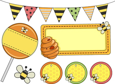 Illustration of Different Bee Party Design Elements illustration