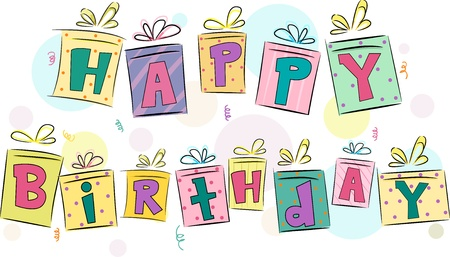 bash: Illustration of Gift Boxes with Happy Birthday text Design Element Stock Photo