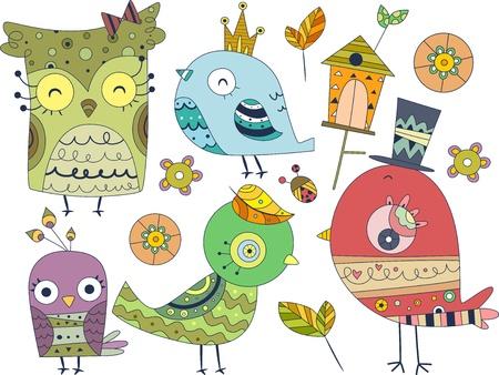 Illustration des différents Doodles Design Elements d'oiseaux Banque d'images