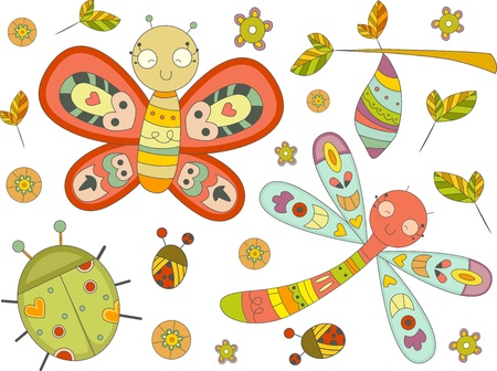 cocoon: Illustration of Insect Doodles Design Elements